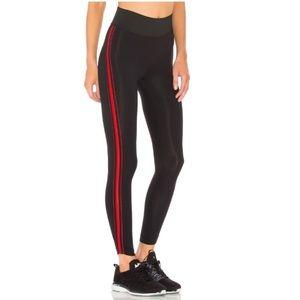 Koral Tone Leggings Black Red Stripes Size XS